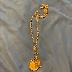 Chanel vintage double pendant necklace